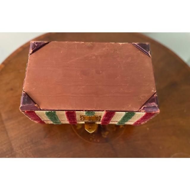 Vintage Striped Fomerz Italy Leather, Satin, Velvet, Felt Domed Box For Sale - Image 9 of 12