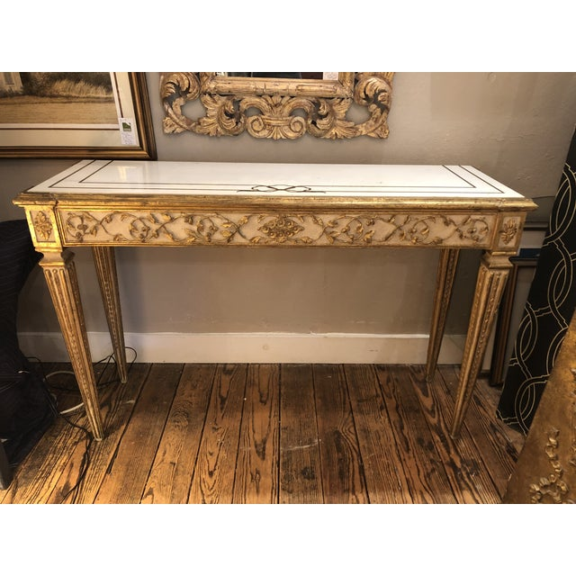 Antique Gilded Painted Italian Regency Console Table With Marble Top For Sale - Image 11 of 11