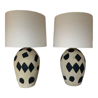Black & White Painted Ceramic Table Lamps - a Pair For Sale