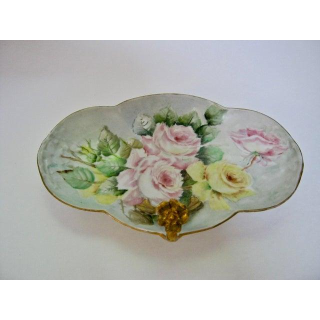 Limoges, France Antique Limoges France Hand Painted Rose Dessert Tray For Sale - Image 4 of 6