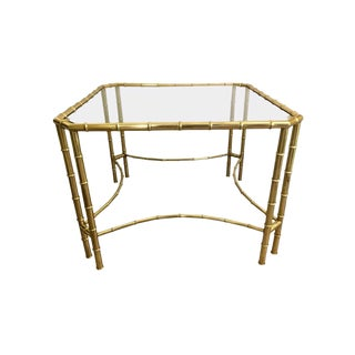 1970s Brass Faux Bamboo and Glass Center Centre Foyer Table For Sale