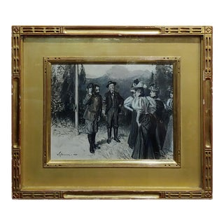 """William Thomas Smedley """"Group of Gentlemen Meet a Group of Ladies"""" Painting C. 19th Century For Sale"""