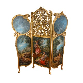 Louis XV Style Hand Painted Room Divider For Sale