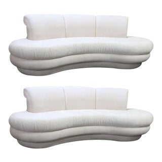 Vintage Adrian Pearsall Kidney Cloud Curved Sofas - Pair Available