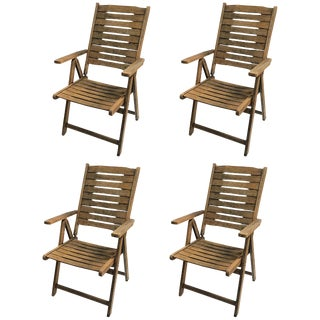 Mid-Century Wooden Reclining Lawn or Patio Chairs - Set of 4 For Sale