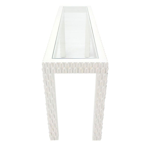 Mid 20th Century Vintage Mid Century Pineapple Pattern Carved White Lacquer Console Table For Sale - Image 5 of 10