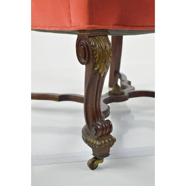 French Louis XIII-Style Velvet Armchair in Salmon For Sale - Image 7 of 7
