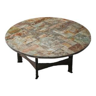 Pia Manu Round Slate Mosaic Coffee Table - 1970's For Sale