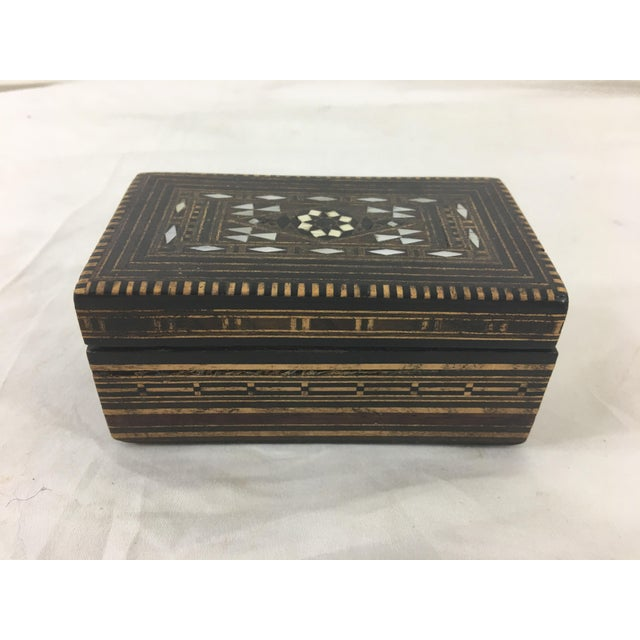 Black Moroccan Wood and Mother of Pearl Inlay Box For Sale - Image 8 of 8