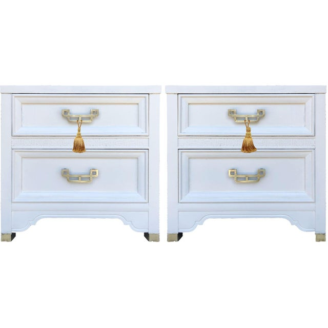 Antique White 1960s Henry Link Mandarin Collection Chinoiserie Nightstands - a Pair For Sale - Image 8 of 9