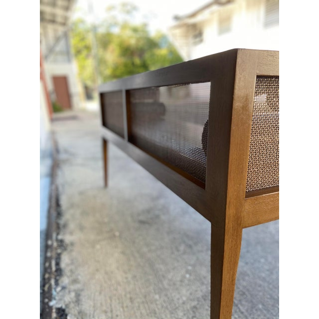 Danish Style Black Leather Bench For Sale - Image 10 of 13