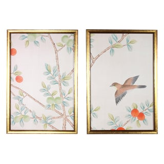 Hand-Painted Chinoiserie Silk Wallpaper Newly Framed Sample Diptych - 2 Pieces For Sale