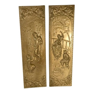 20th Century Victorian Brass Clad Wall Panels - a Pair For Sale