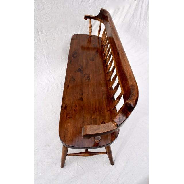 Burnt Umber Farmhouse Pine Spindle Back Bench For Sale - Image 8 of 10