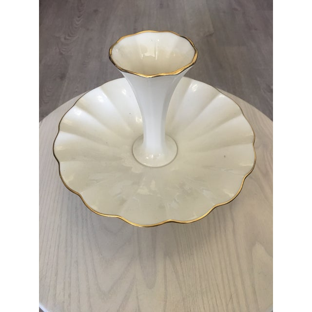 The most elegant and classy, round porcelain Vase - Candy - Soap -Dish by Lenox China with delicate scalloped edges hand...