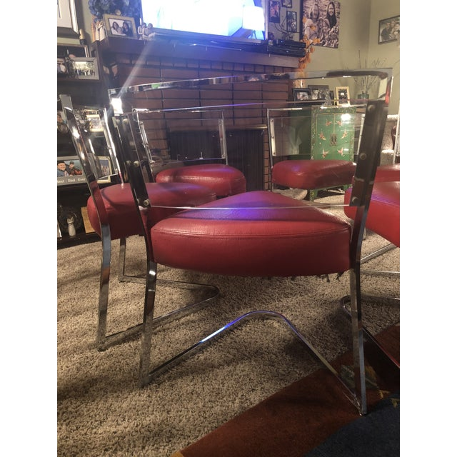 1970 Vintage Pie Wedge Form Leather/Vinyl Chrome and Lucite Chairs - Set of 6 For Sale - Image 4 of 6