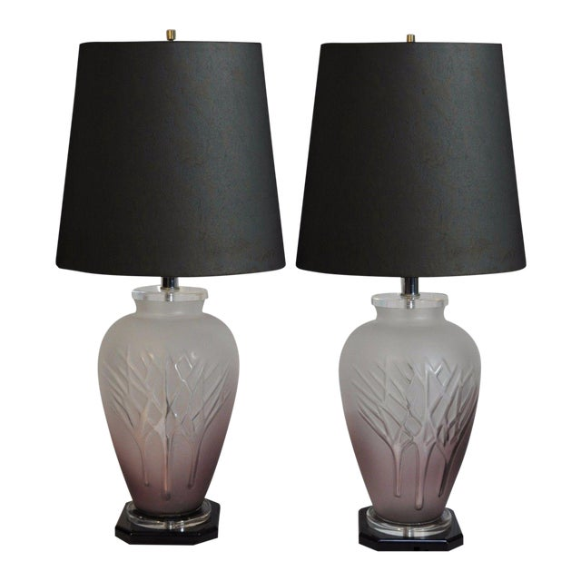 Pair Vintage Mid Century Modern Frosted Purple Glass & Lucite Table Lamps For Sale