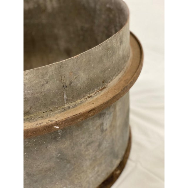 Early 20th Century Early 20th Century Industrial Zinc and Iron Planters - a Pair For Sale - Image 5 of 8