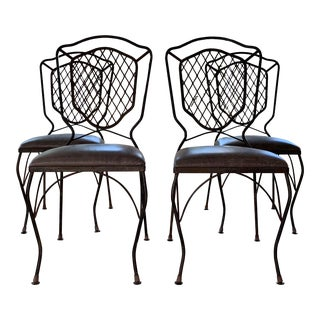 1940s Vintage French Iron Garden Chairs- Set of 4 For Sale