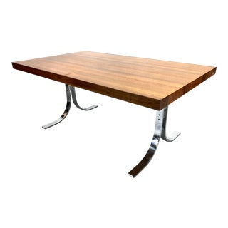 Danish Modern Rosewood & Chrome Dyrlund Extension Dining Table For Sale