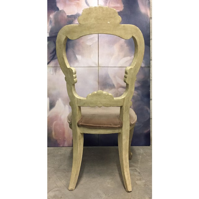 White Carved Beige Velvet Seat Chair For Sale - Image 4 of 5