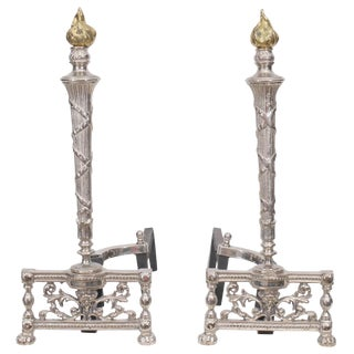 1940s Vintage Nickel Andirons With Brass Flame Finials - a Pair For Sale