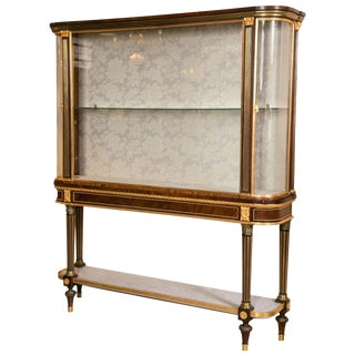 Maison Jansen Bronze-Mounted Vitrine Cabinet on Stand Magnificent Marble Top For Sale