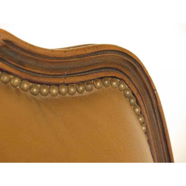 French Louis XV Style Leather Lounge Chair & Ottoman - A Pair - Image 5 of 13