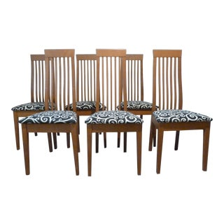 Modern Cherry Veneer Dining Room Chairs - Set of 6
