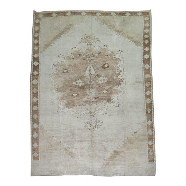 Vintage White & Brown Turkish Oushak Rug, 9'1'' x 13'8'' For Sale