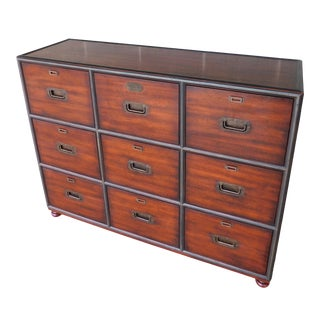 Theodore Alexander Campaign Style Mahogany Officer's Filing Chest 6000-172 For Sale
