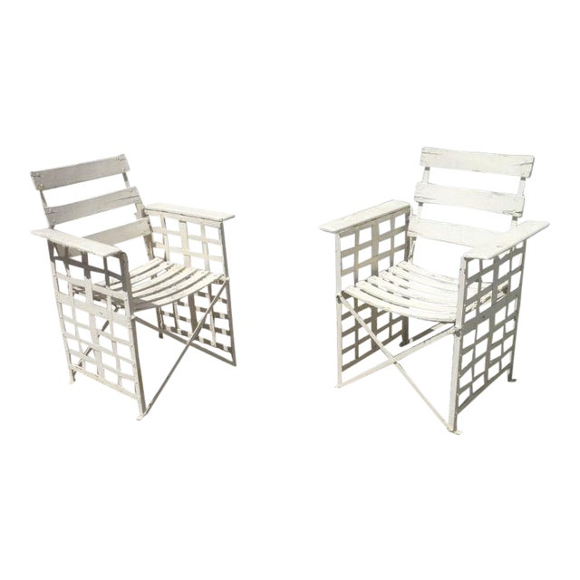 Austrian Sécession Pair of Garden Arm Chairs in Genuine Vintage Condition For Sale
