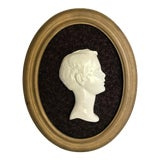 Image of Vintage Framed Cameo Portrait Art of Young Boy For Sale