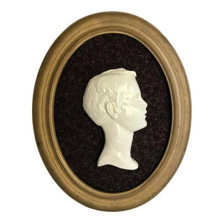 Vintage Framed Cameo Portrait Art of Young Boy For Sale