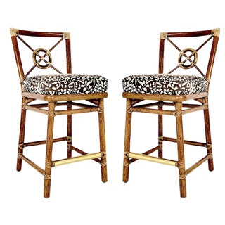 Pair of McGuire Bar Stools With Brass Accent For Sale