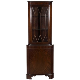 1960s Georgian Mahogany Narrow Bow Front Corner Cabinet Cupboard For Sale