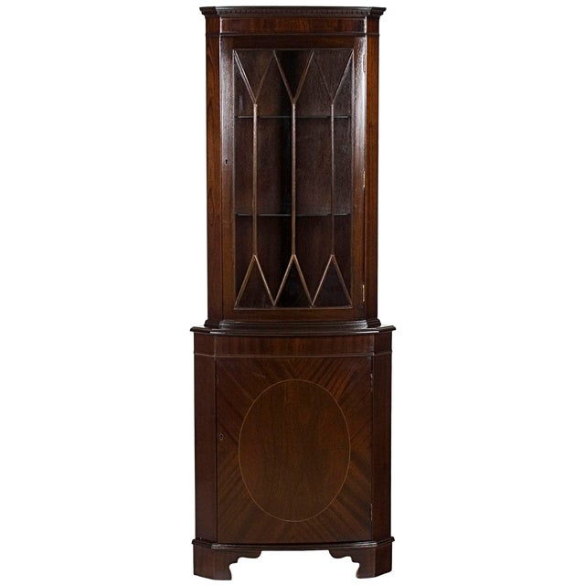 1960s Georgian Mahogany Narrow Bow Front Corner Cabinet Cupboard For Sale