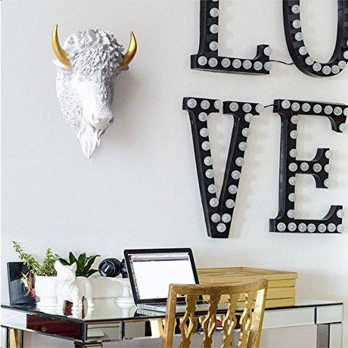 The Large Yellowstone White + Gold Horns faux taxidermy Buffalo / Bison Head Wall Sculpture. This wall mount showcases the...