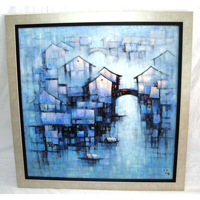 Water Night Signed Framed Oil on Canvas For Sale - Image 4 of 4