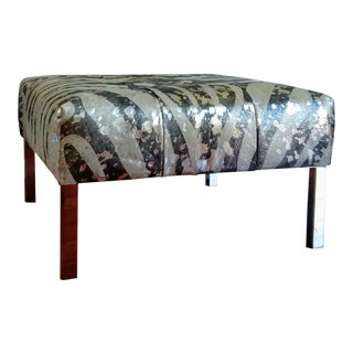 Gambrell Renard Silver Metallic Ottoman For Sale