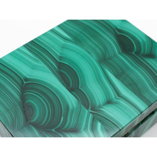 Early 21st Century Malachite Semi-Precious Stone Box For Sale - Image 5 of 8