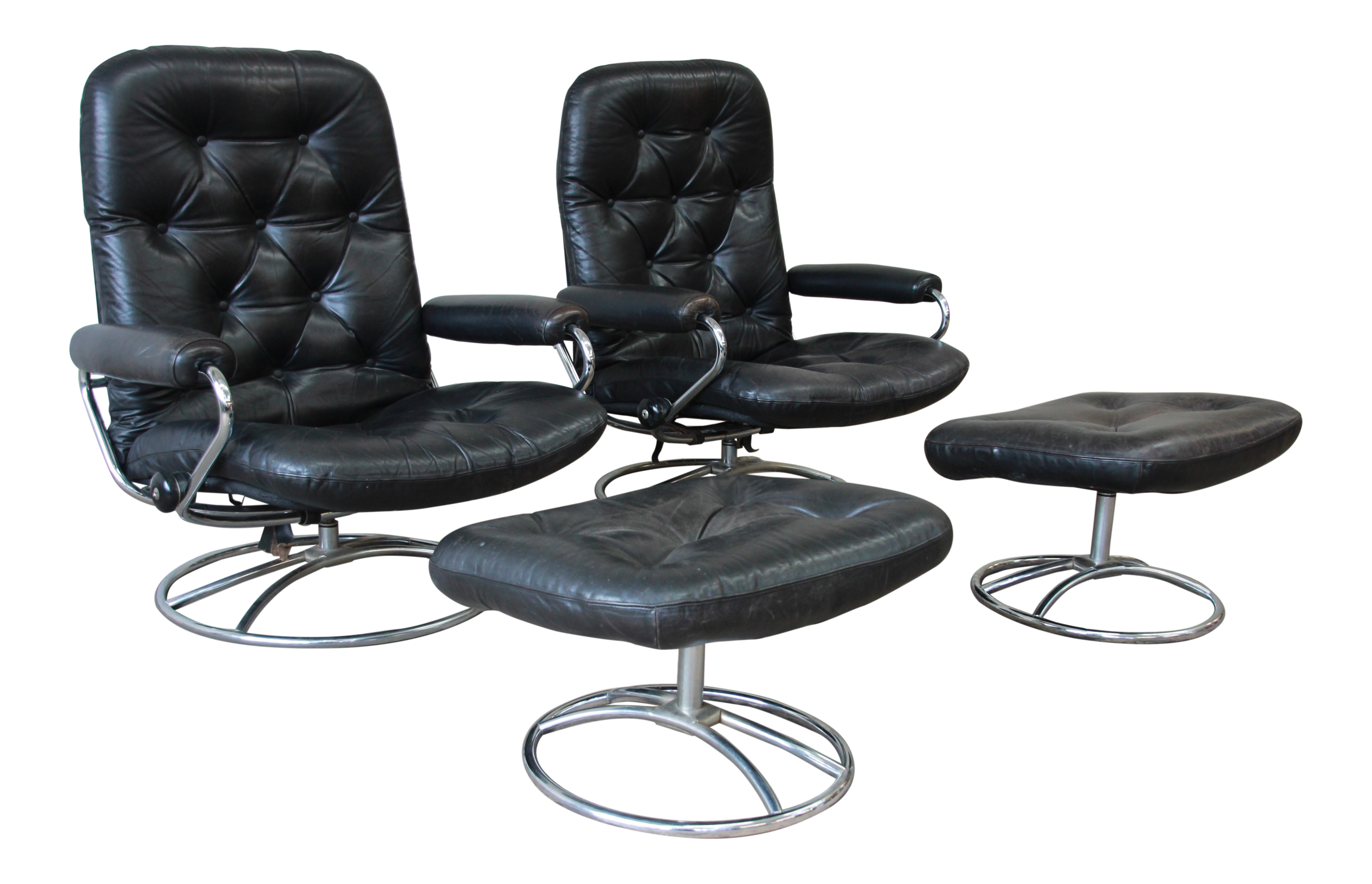 Vintage Black Leather Ekornes Stressless Lounge Chairs U0026 Ottomans   A Pair    Image 1 Of