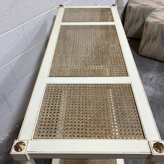 1970s Vintage Off White and Gold Leaf Two Tier Console With Wicker Panels For Sale - Image 5 of 12