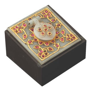 Al Thani Collection Mughal Indian Square White Jade Inkwell Cover, C. 1800 For Sale