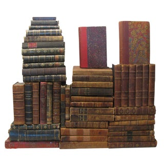 French Distressed Leather Book Collection 18th-20thC., S/49 For Sale