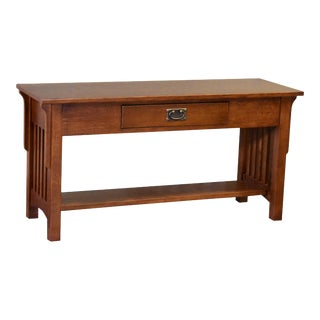 Crafters and Weavers Mission 1 Drawer Crofter Style Console Table - Michael's Cherry Stain For Sale