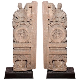 Ming Dynasty Antique Stone Architectural Carvings from a Chinese Temple