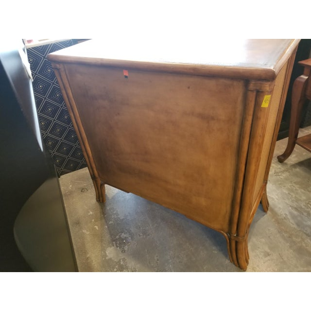 Boho Chic Bamboo Rattan With Leather Embossed Top Chest of Drawers For Sale - Image 3 of 10