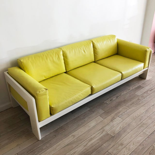 "1975 Yellow "" Bastiano"" sofa by Tobia Scarpa manufactured by Knoll. Sofa wood frame have been professional restored and..."