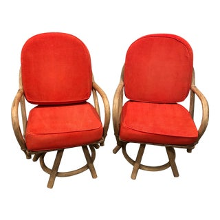 Mid-Century Bamboo Swivel Chairs - a Pair For Sale